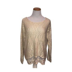 Olivia Sky loose knit sweater with lace sheer